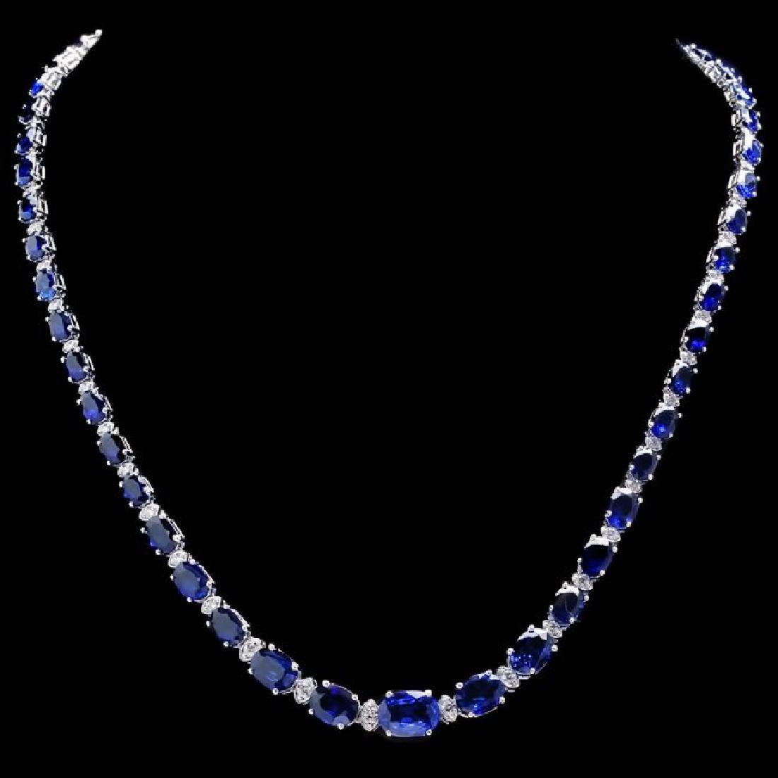 14k Gold 32.50ct Sapphire 1.55ct Diamond Necklace