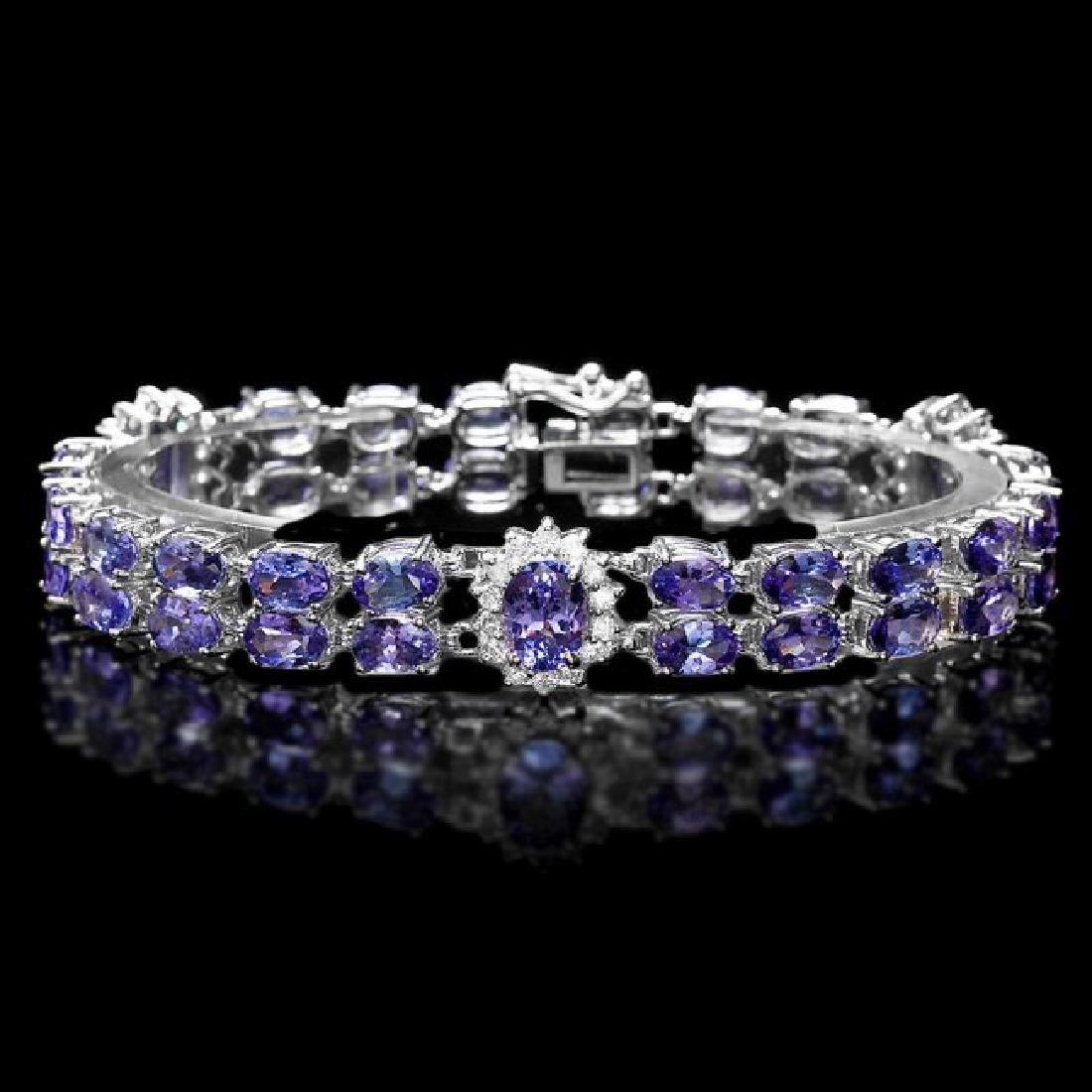14k W Gold 20ct Tanzanite 1.35ct Diamond Bracelet