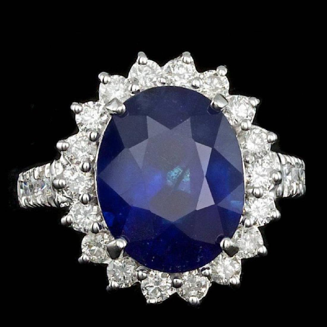 14k Gold 8.00ct Sapphire 1.20ct Diamond Ring