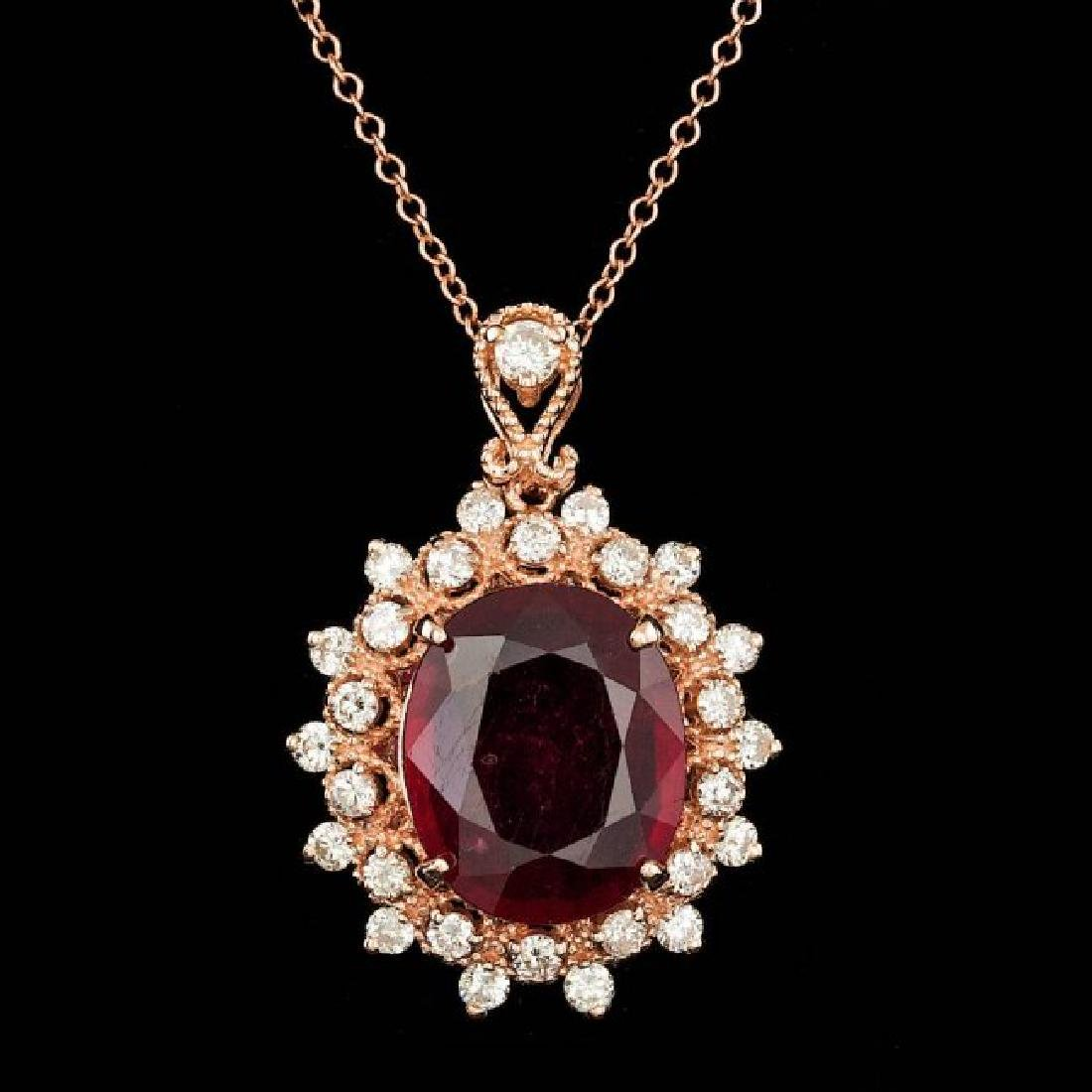14k Rose Gold 6.50ct Ruby 0.90ct Diamond Pendant