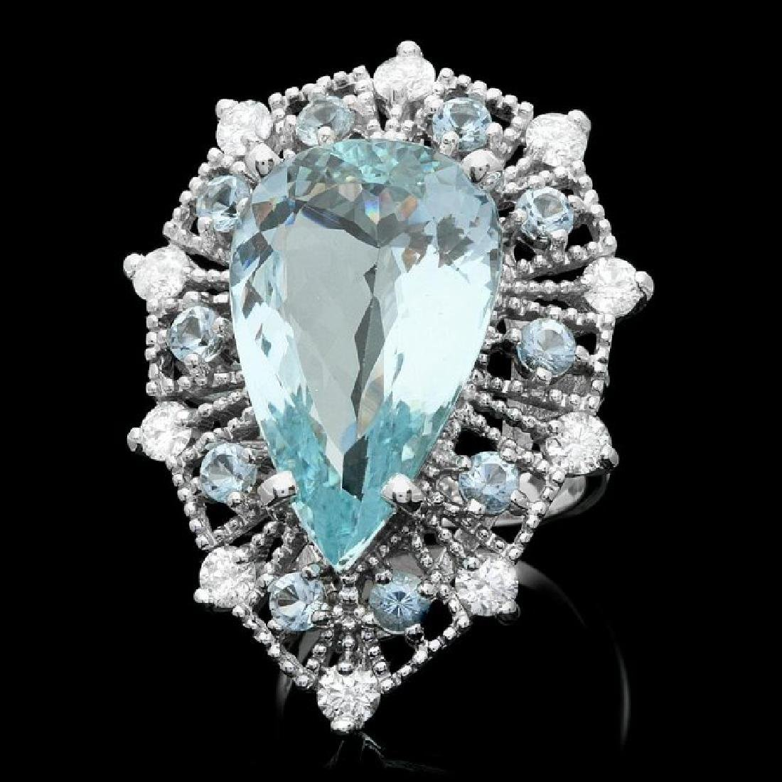 14k Gold 12.5ct Aquamarine 1.25ct Diamond Ring