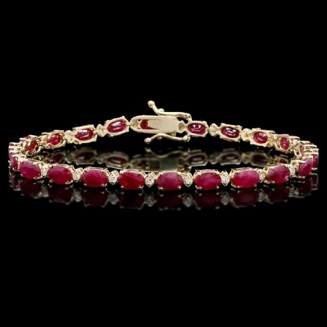 14k Gold 12.00ct Ruby 0.60ct Diamond Bracelet