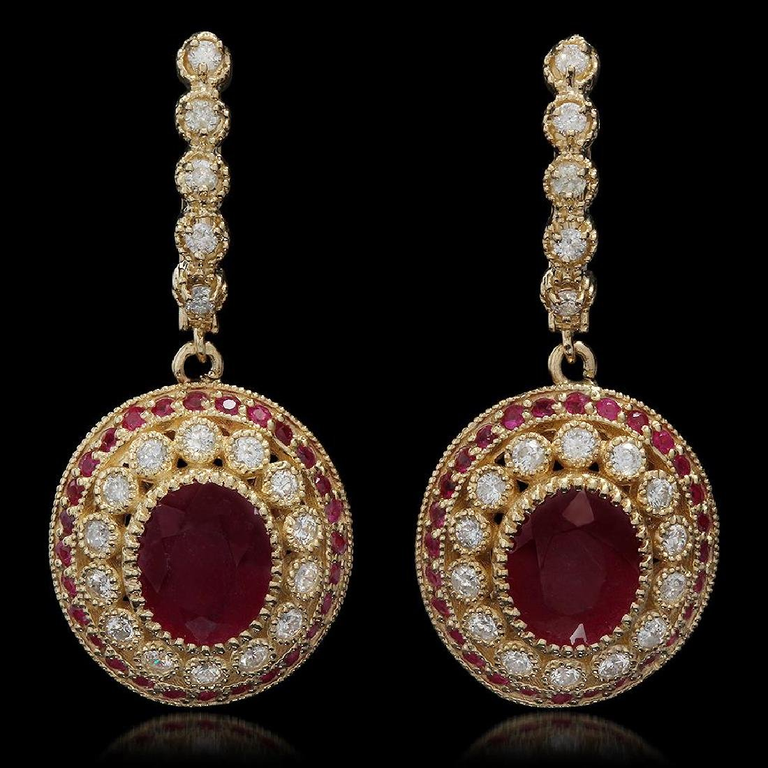14K Gold 6.70ct Ruby 1.20ct Diamond Earrings