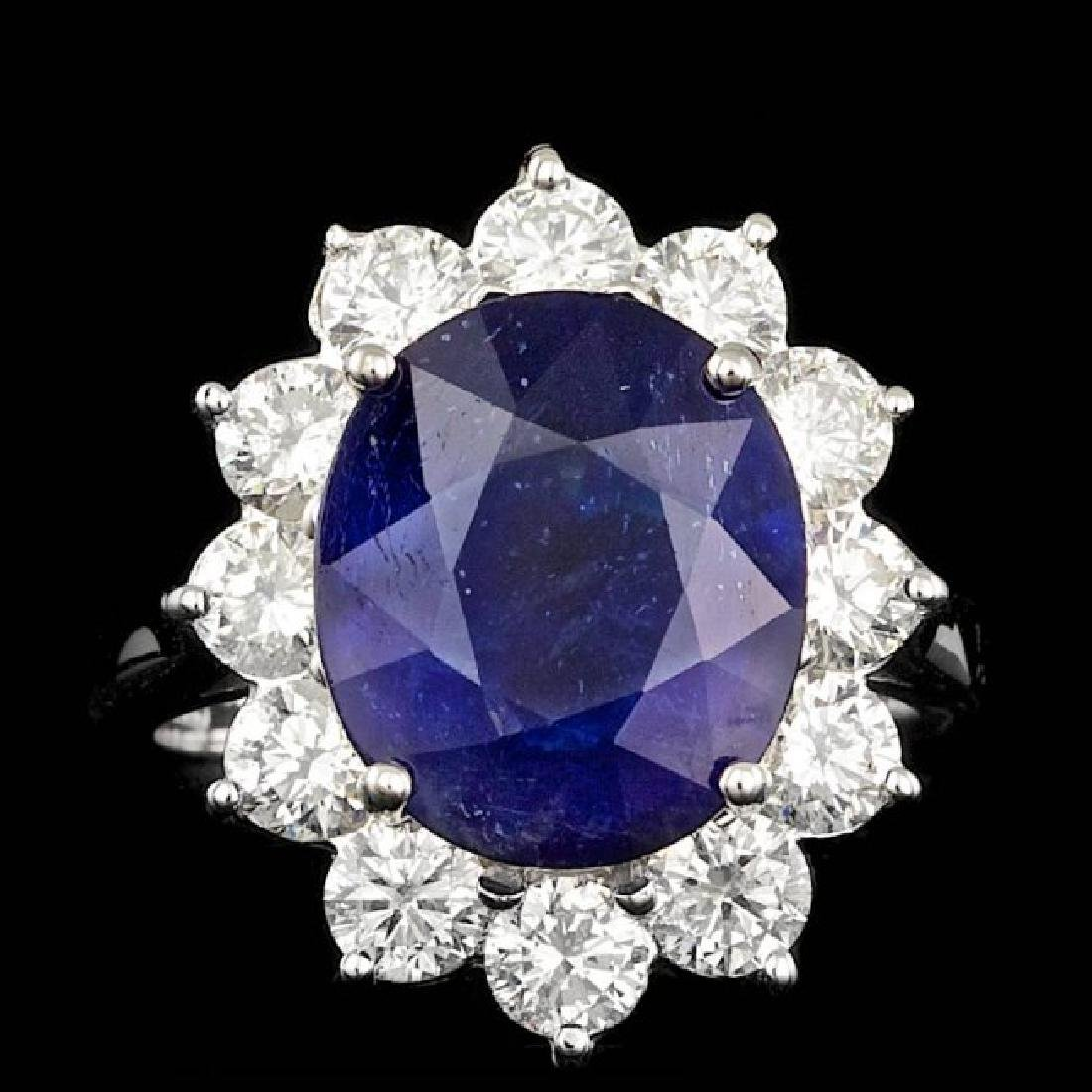 14k Gold 7.00ct Sapphire 2.00ct Diamond Ring