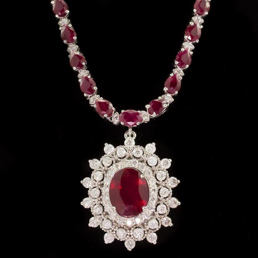 14k Gold 27.74ct Ruby 3.21ct Diamond Necklace