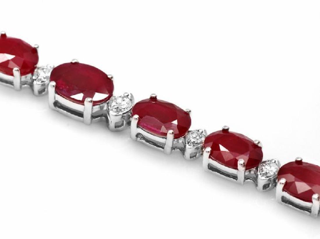 14k Gold 14.00ct Ruby 0.70ct Diamond Bracelet - 2