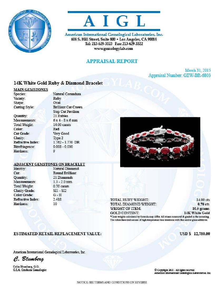 14k Gold 14.00ct Ruby 0.70ct Diamond Bracelet - 6