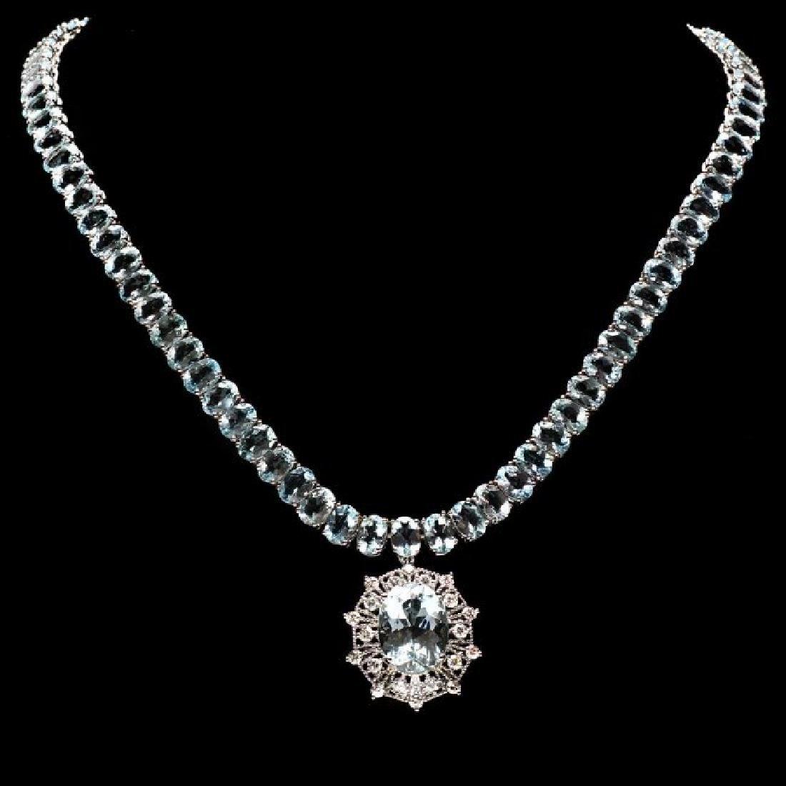 14k Gold 61ct Aquamarine 1.35ct Diamond Necklace