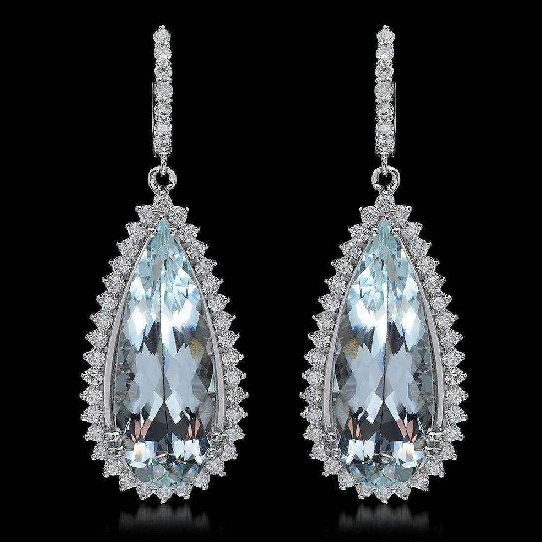 14K Gold 23.10ct Aquamarine 2.50ct Diamond Earrings