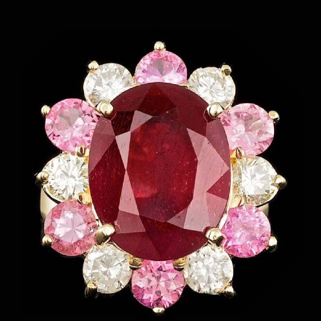 14k Yellow Gold 7.00ct Ruby 1.30ct Diamond Ring