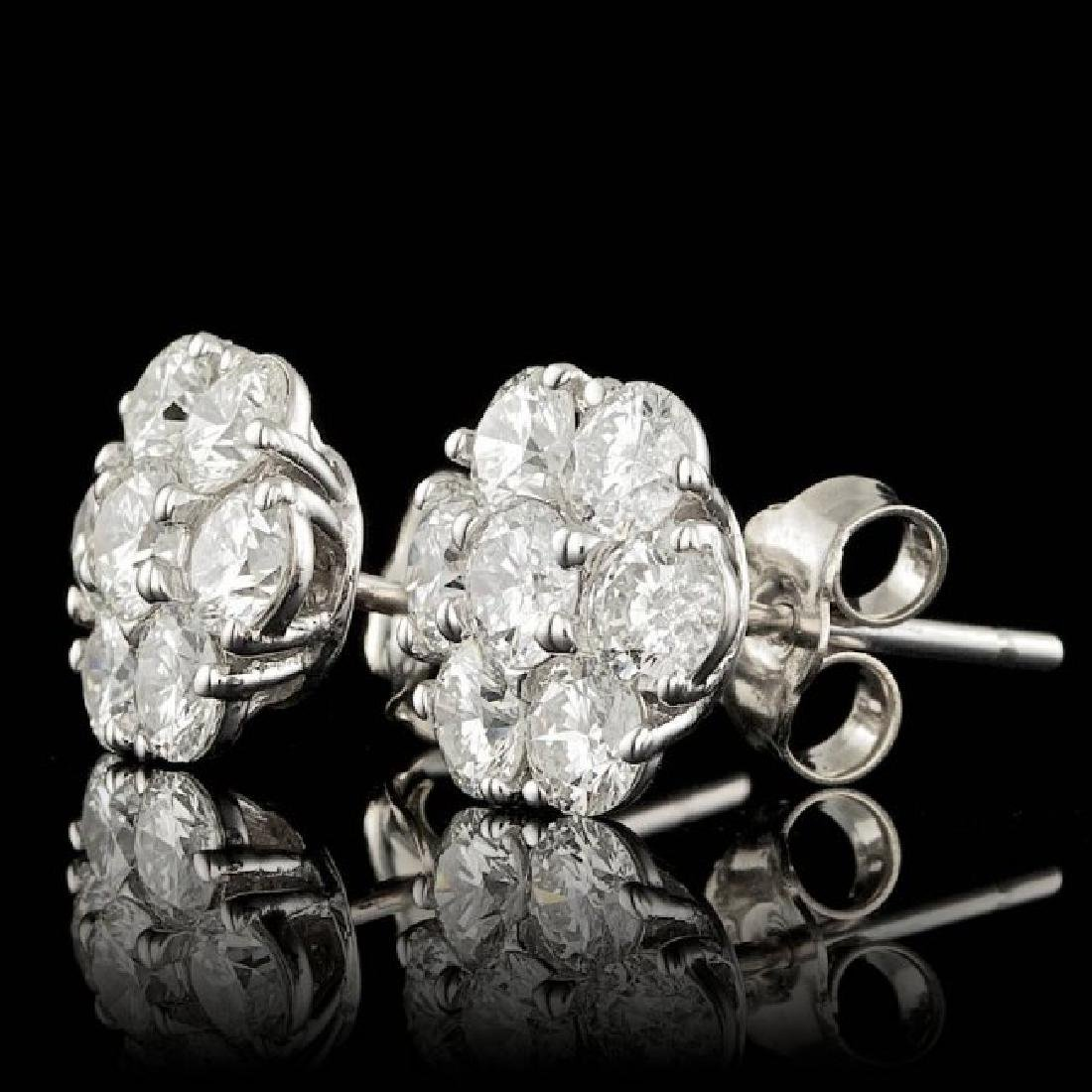 14k White Gold 2.25ct Diamond Earrings - 2