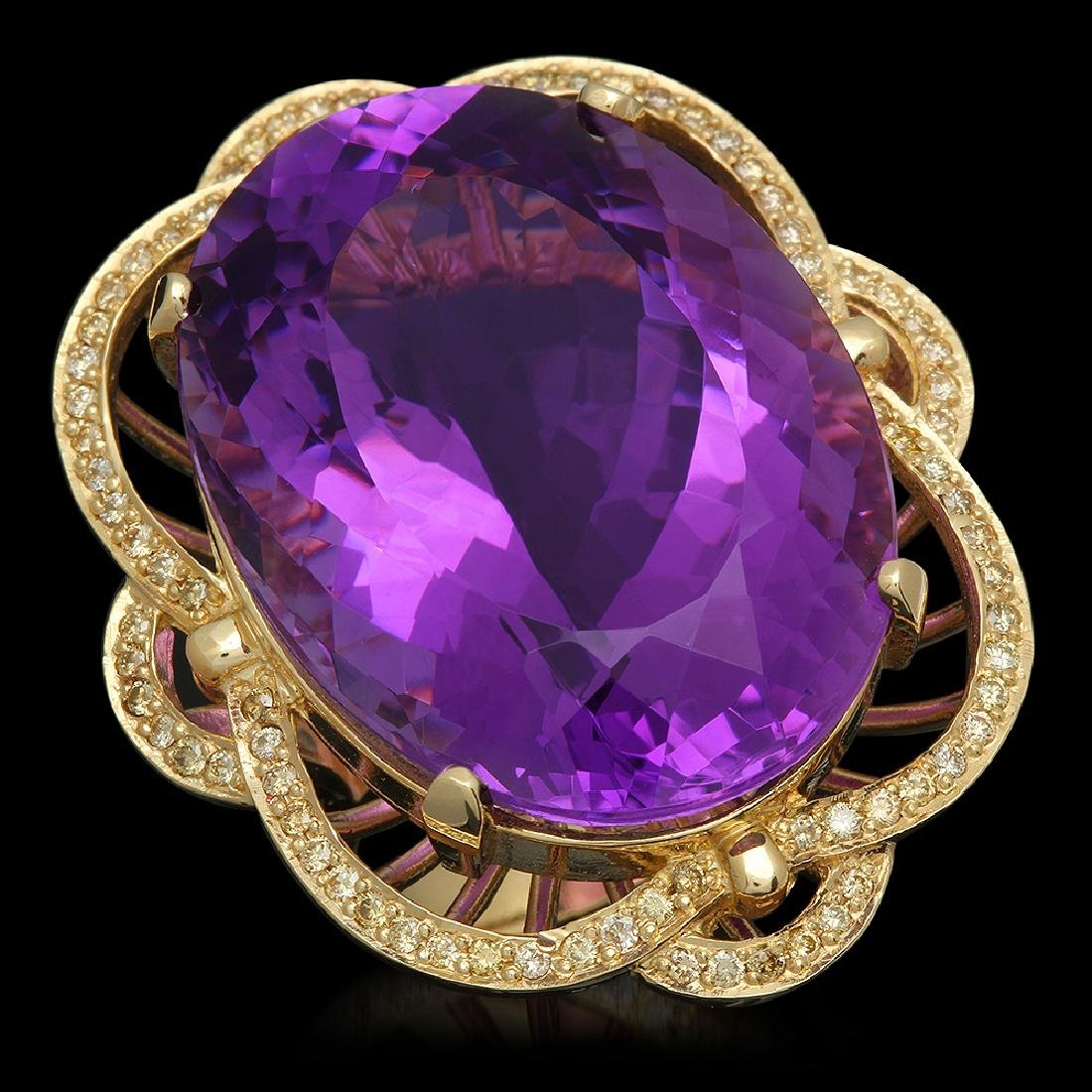 14K Gold 53.22ct Amethyst 1.00ct Diamond Ring