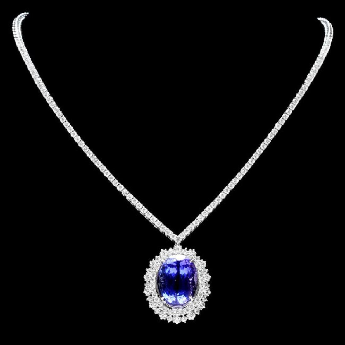 18k Gold 21ct Tanzanite 6ct Diamond Necklace