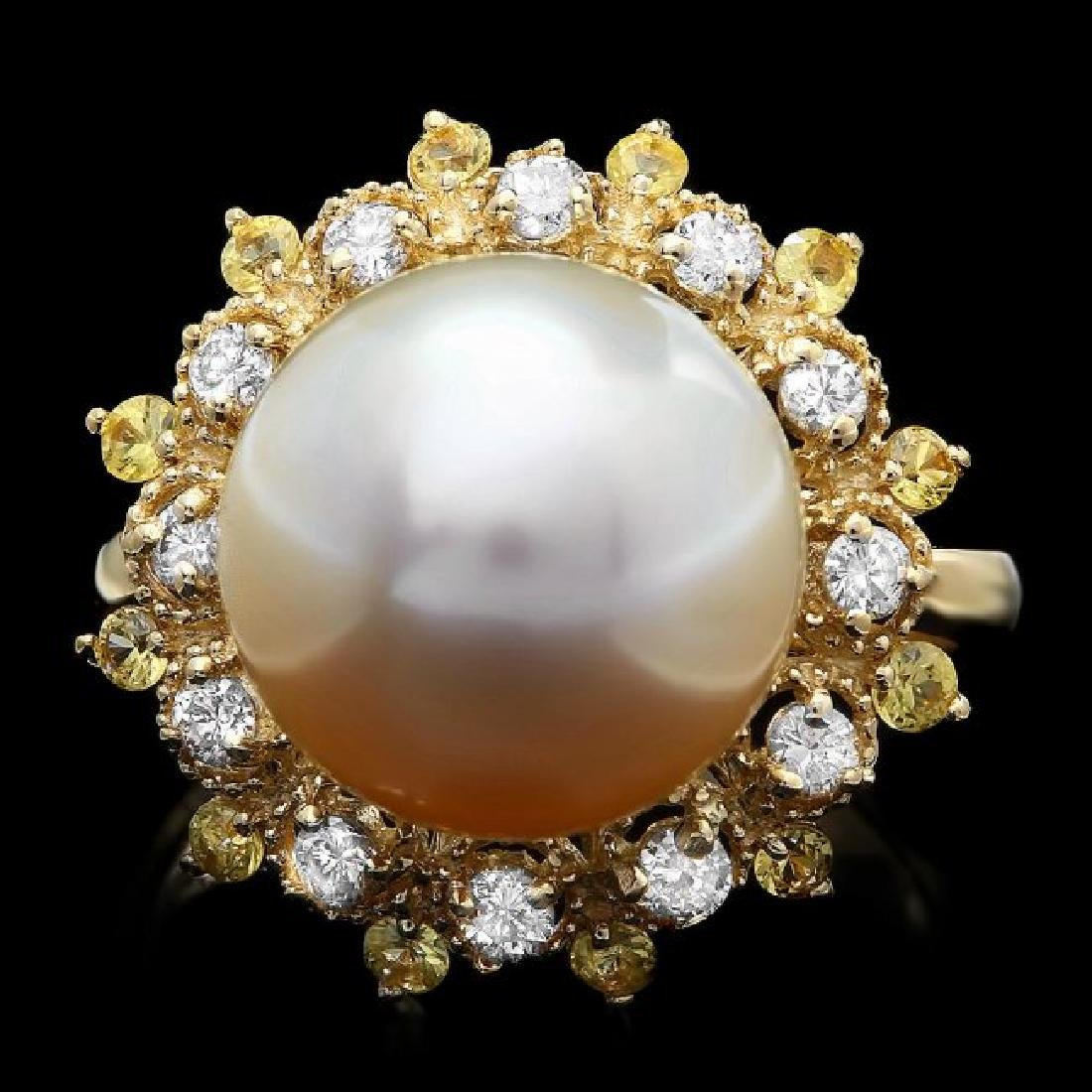 14k Gold 12 X 12mm Pearl 0.40ct Diamond Ring