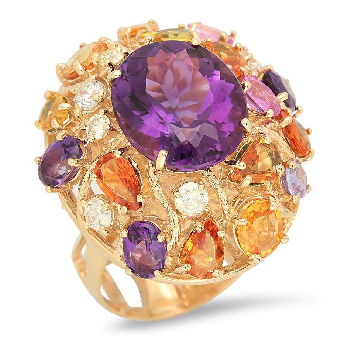 14K Gold 8.26ct Amethyst 6.46ct Sapphire 0.7cts Diamond