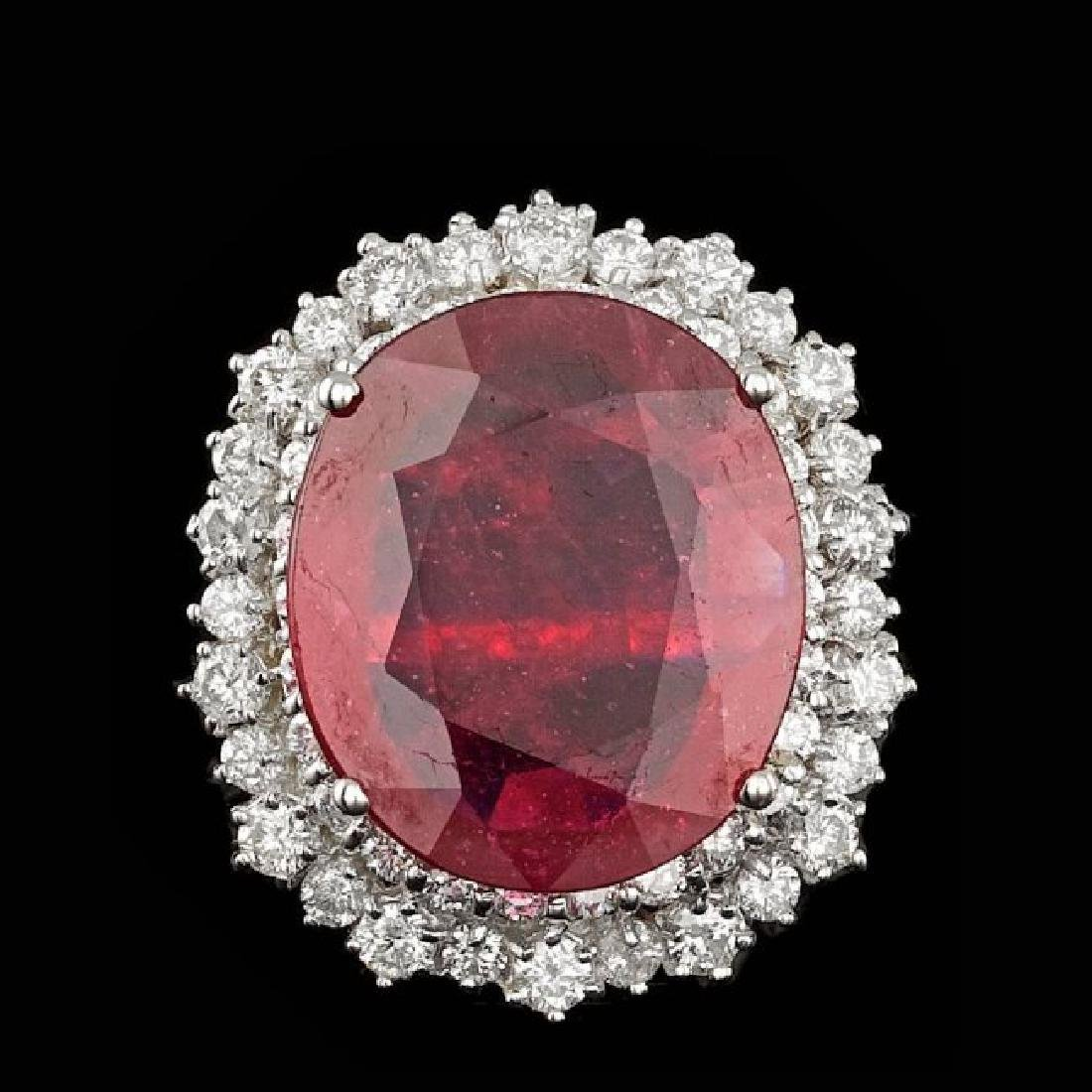 14k White Gold 10.50ct Ruby 1.85ct Diamond Ring