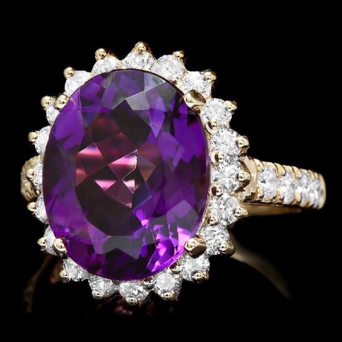 14k Gold 6.50ct Amethyst 1.10ct Diamond Ring
