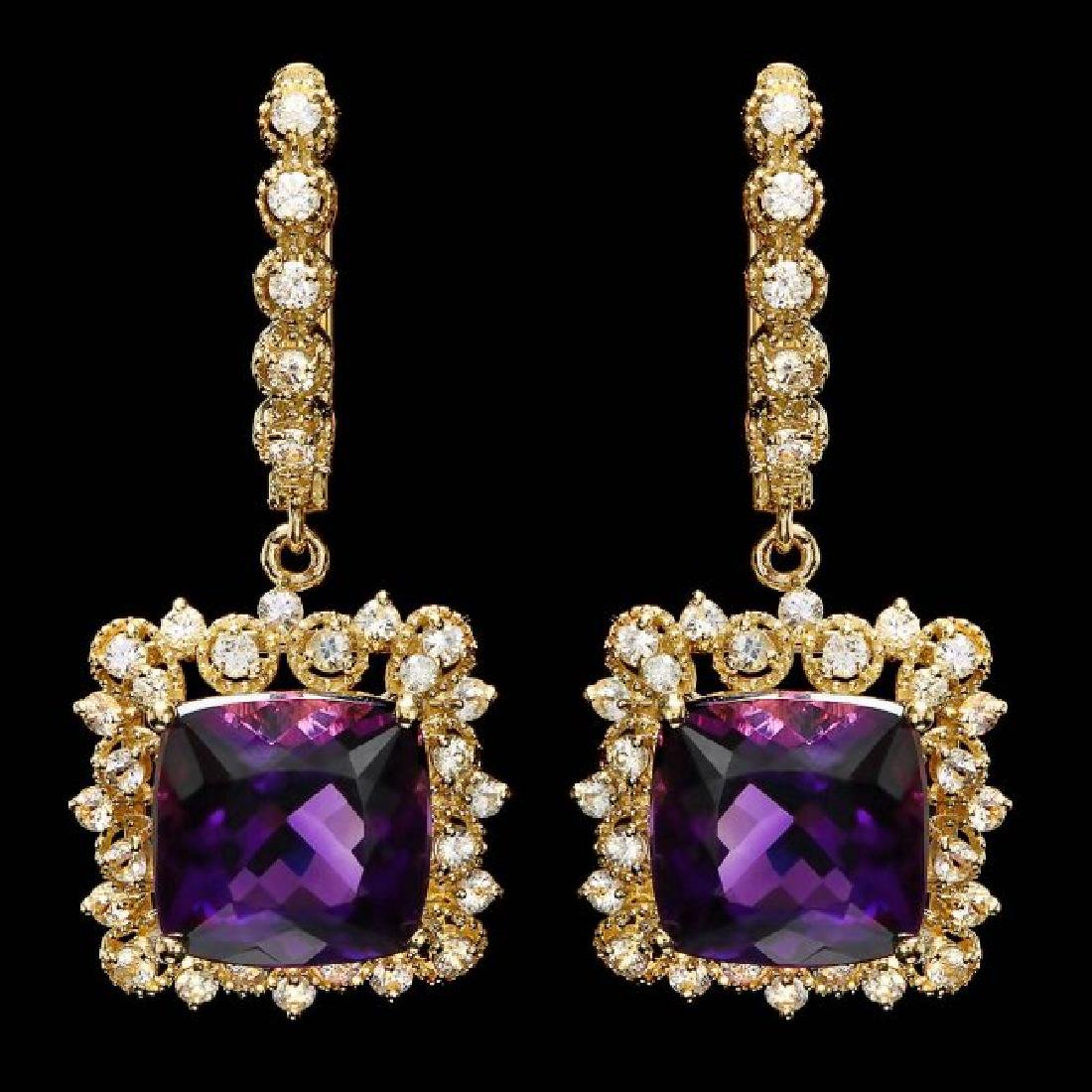 14k Gold 11.50ct Amethyst 1.70ct Diamond Earrings