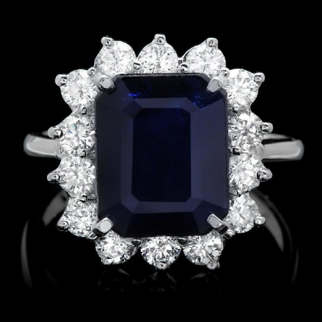 14k Gold 5.00ct Sapphire 1.15ct Diamond Ring
