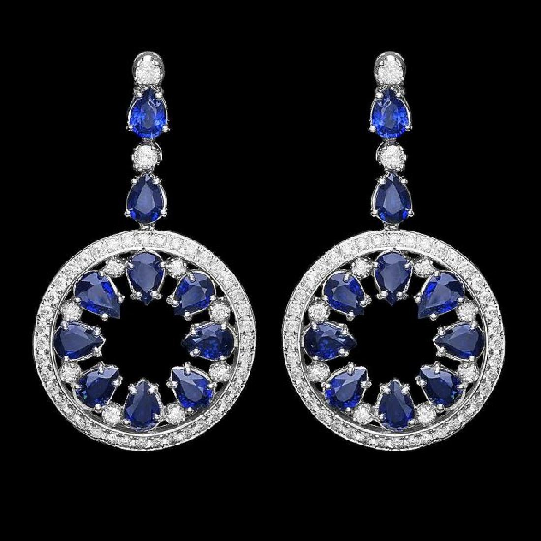 14k Gold 16ct Sapphire 3.50ct Diamond Earrings