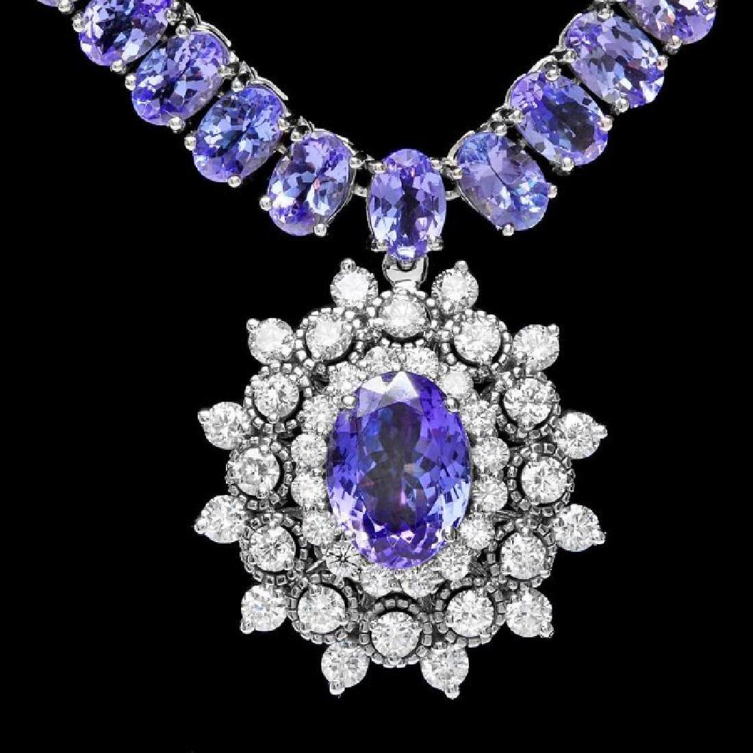 14k Gold 48ct Tanzanite 2ct Diamond Necklace
