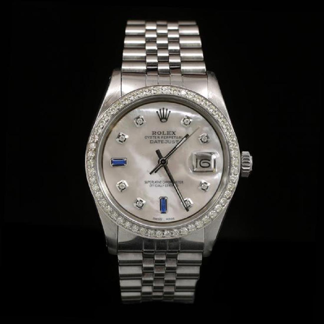 Rolex DateJust SS 36mm Custom Diamond Bezel Men's