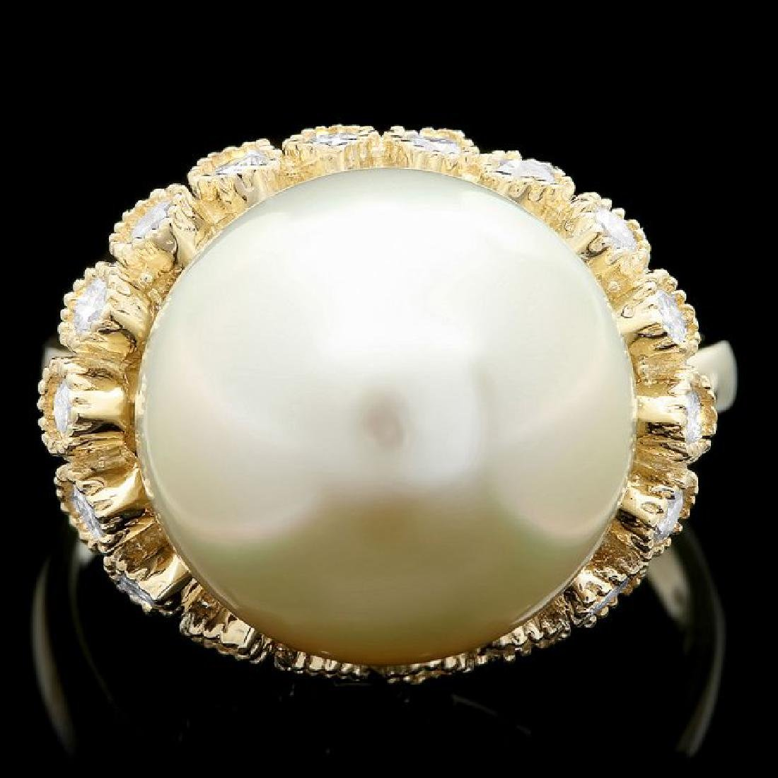 14k Yellow Gold 13mm Pearl 0.75ct Diamond Ring