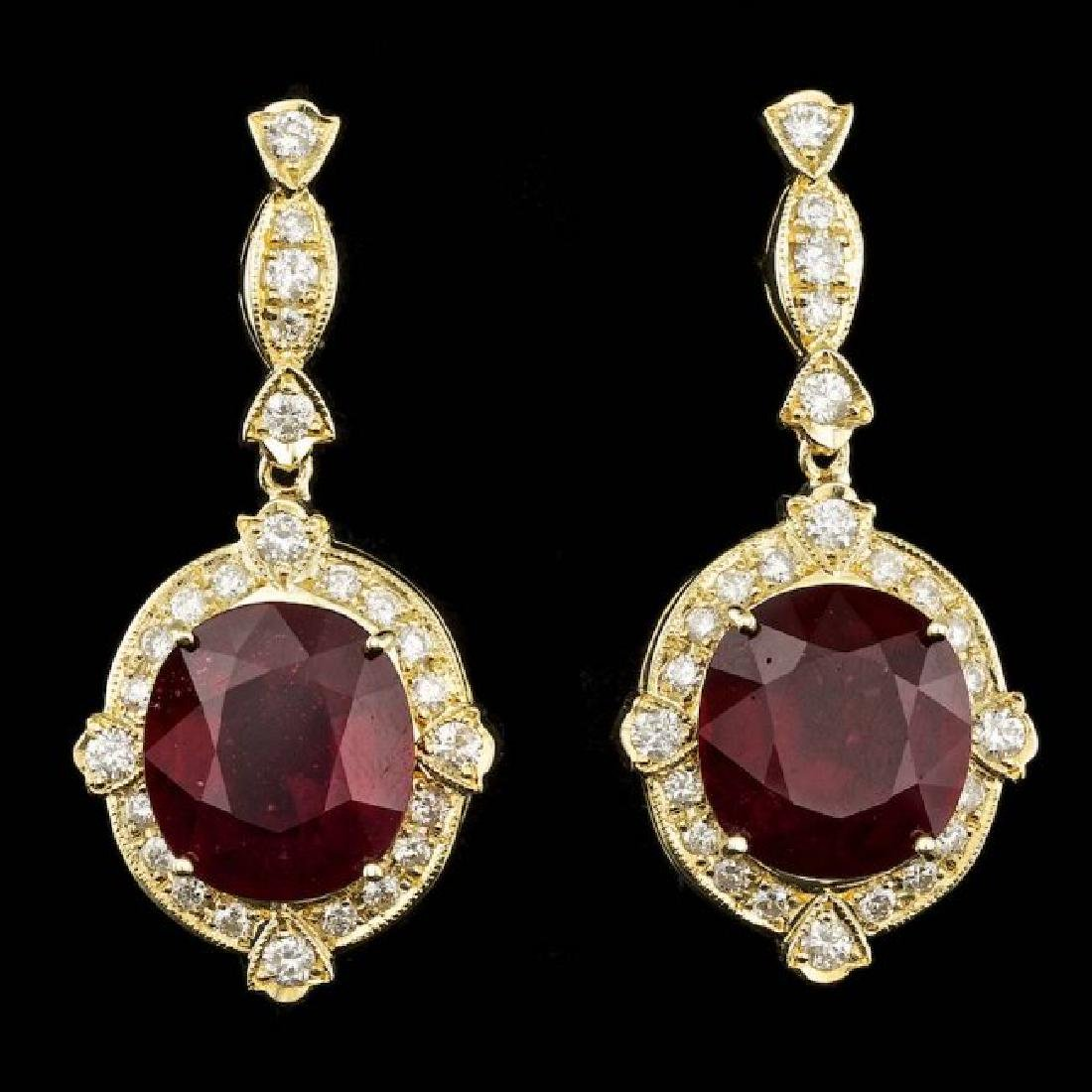 14k Gold 23.50ct Ruby 1.80ct Diamond Earrings