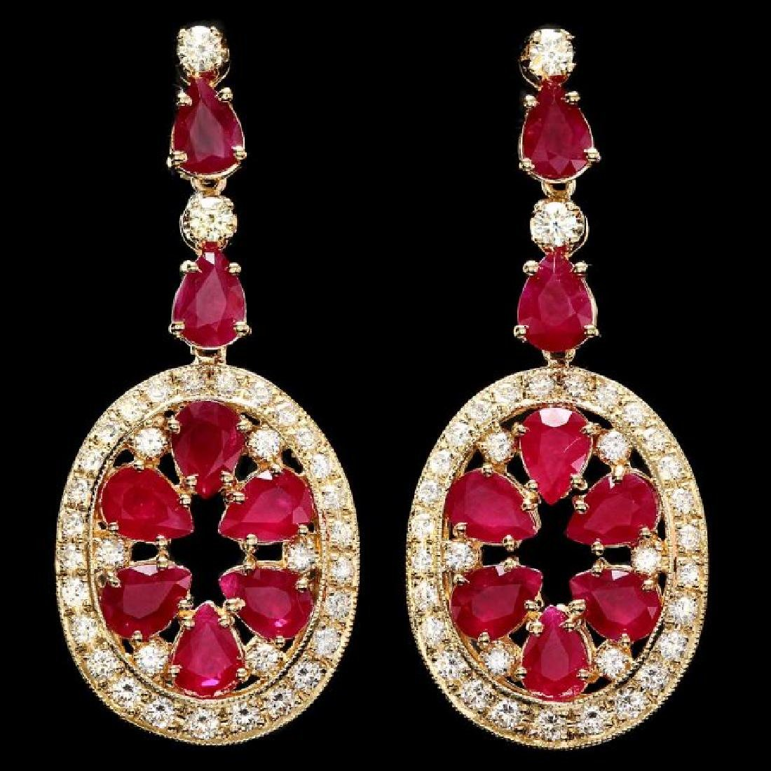14k Gold 15.50ct Ruby 3.00ct Diamond Earrings