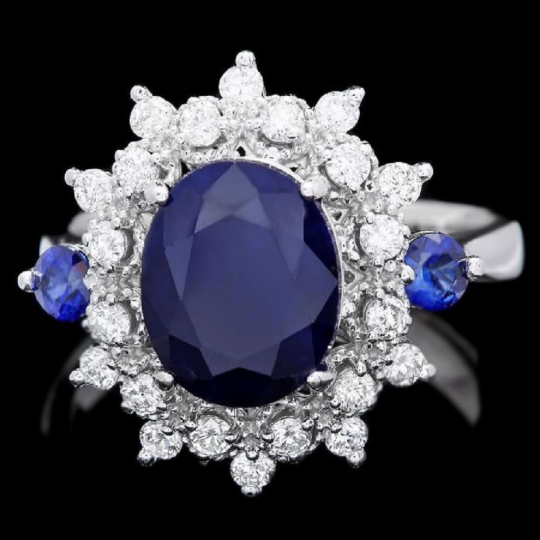 14k White Gold 3.8ct Sapphire 0.50ct Diamond Ring