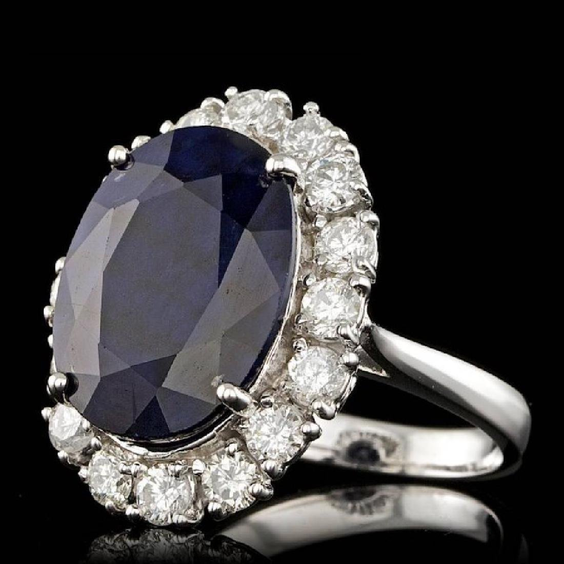 14k Gold 10.00ct Sapphire 1.90ct Diamond Ring