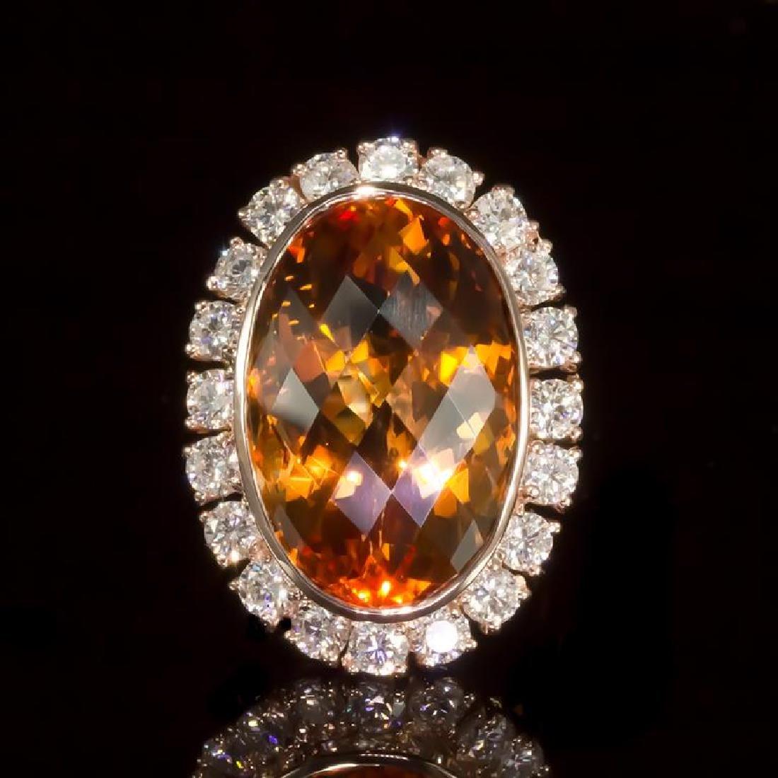 14K Gold 19.68ct Citrine 2.20ct Diamond Ring
