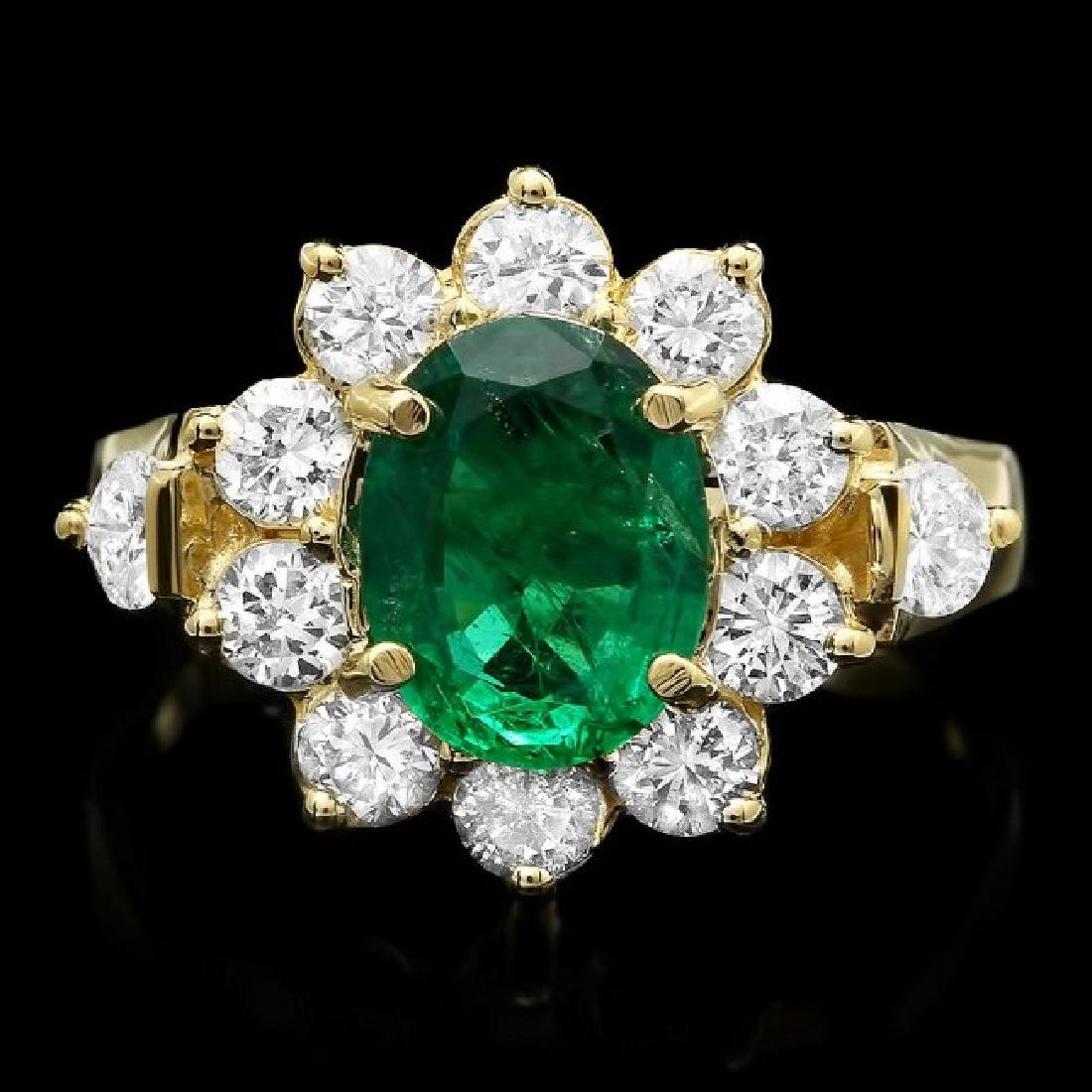 14k Gold 1.50ct Emerald 1.25ct Diamond Ring