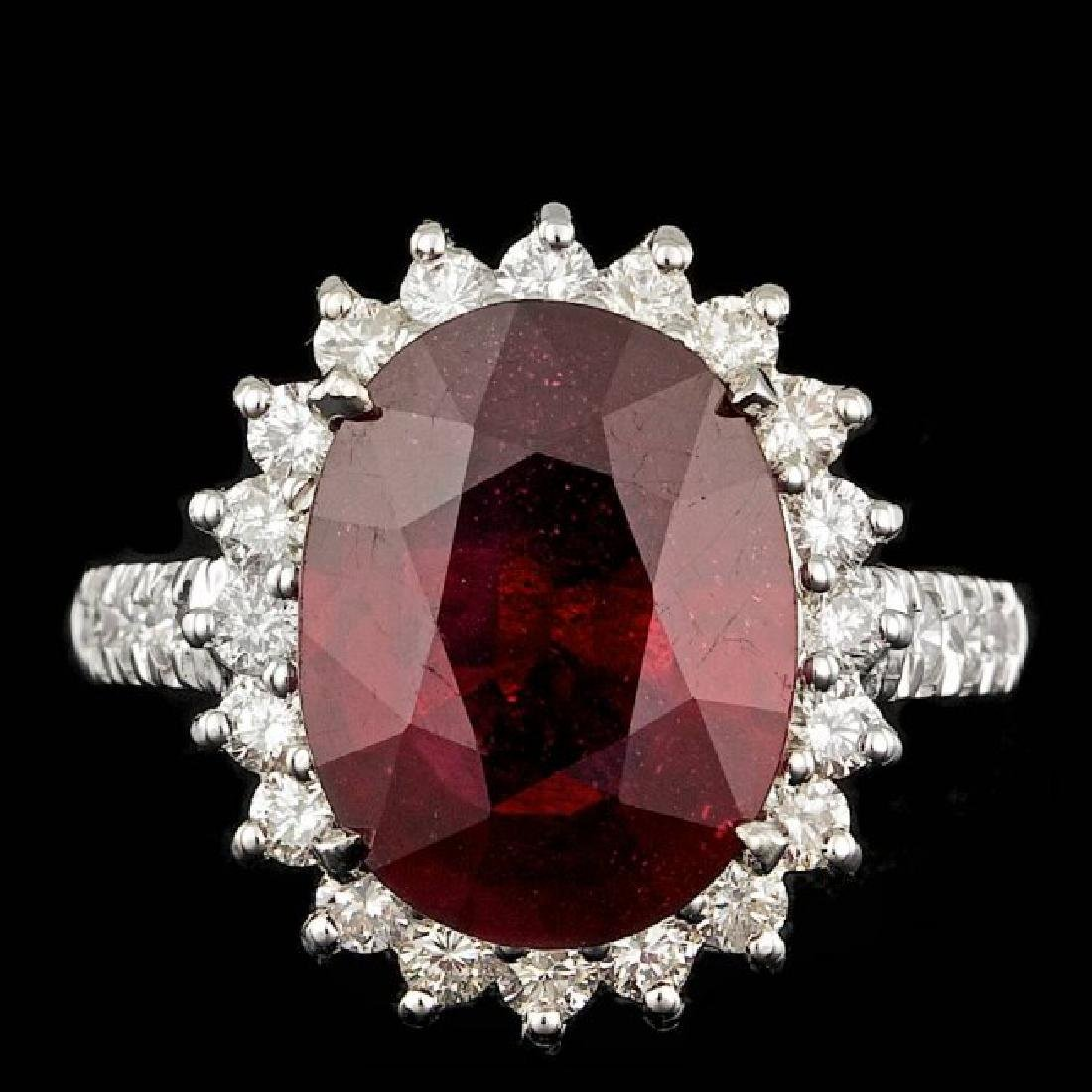 14k White Gold 7.50ct Ruby 1.10ct Diamond Ring