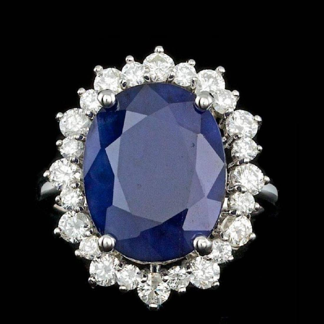 14k Gold 10.50ct Sapphire 1.80ct Diamond Ring