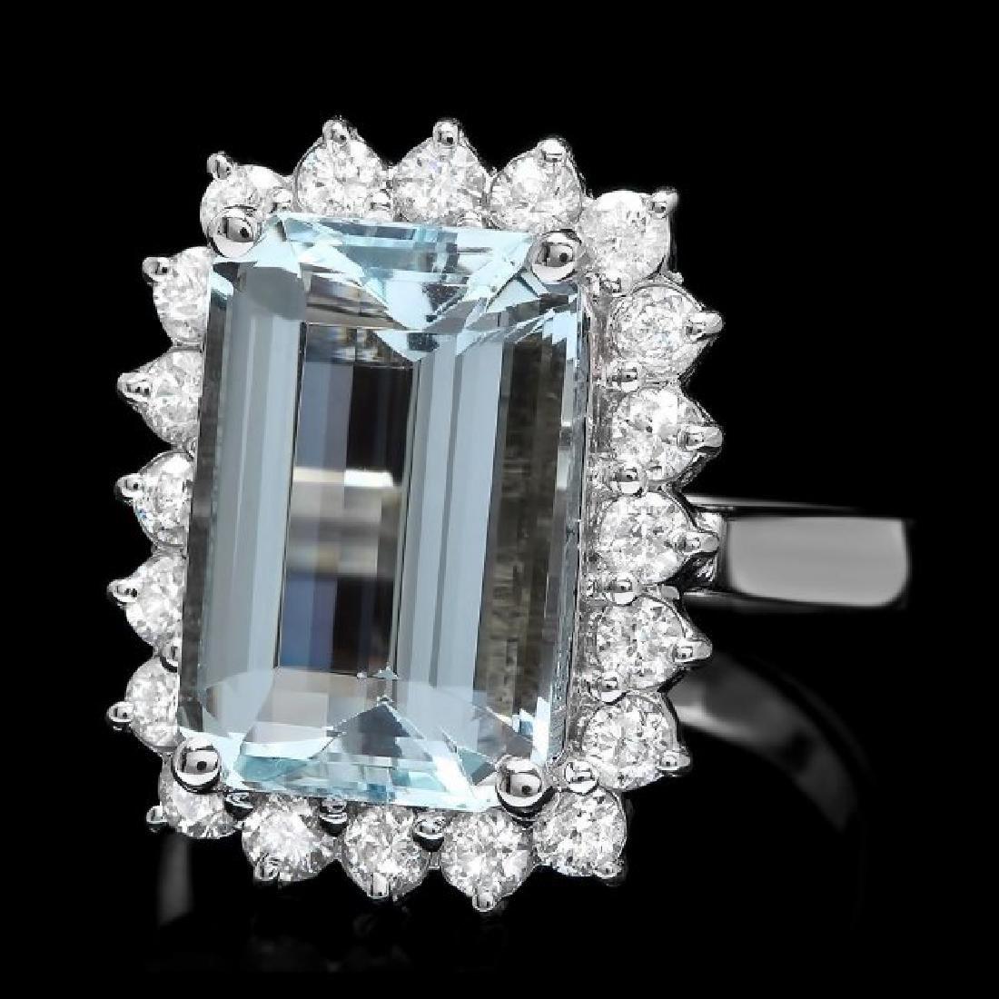 14k Gold 6.00ct Aquamarine 0.95ct Diamond Ring