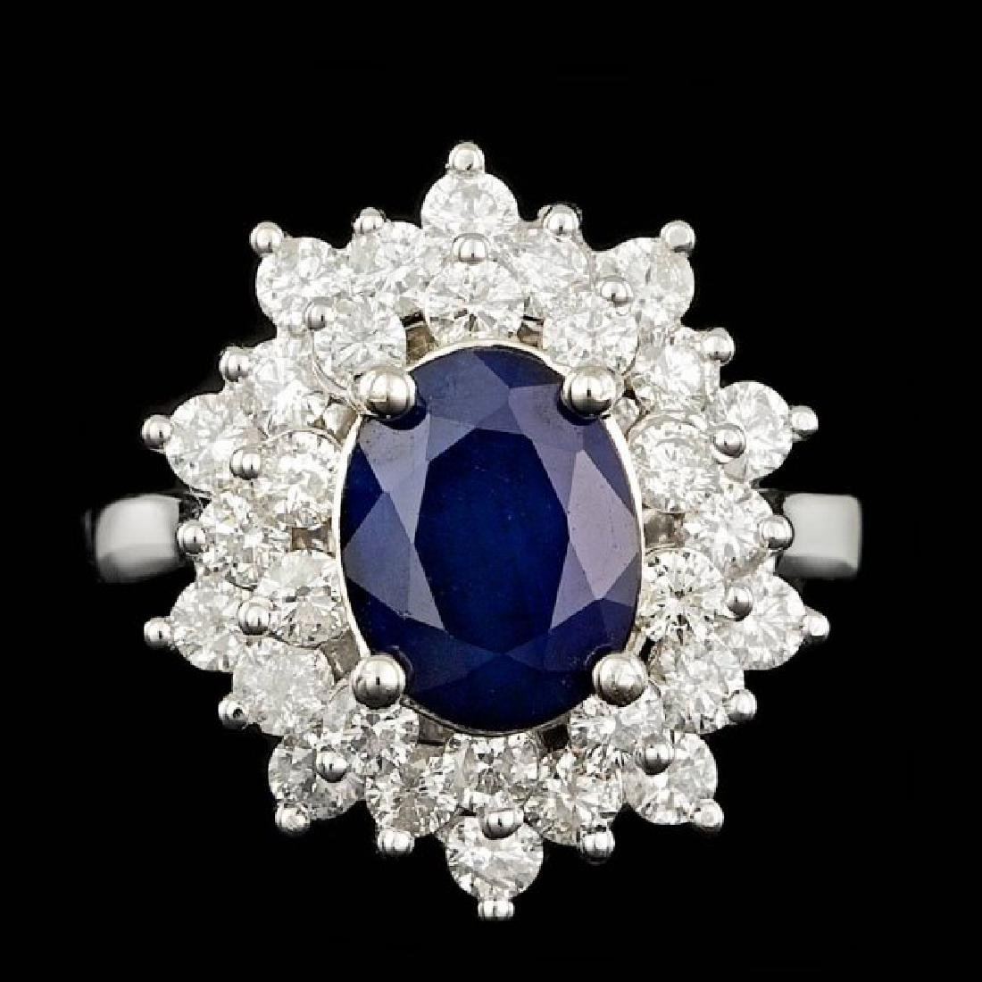 14k Gold 2.00ct Sapphire 1.45ct Diamond Ring