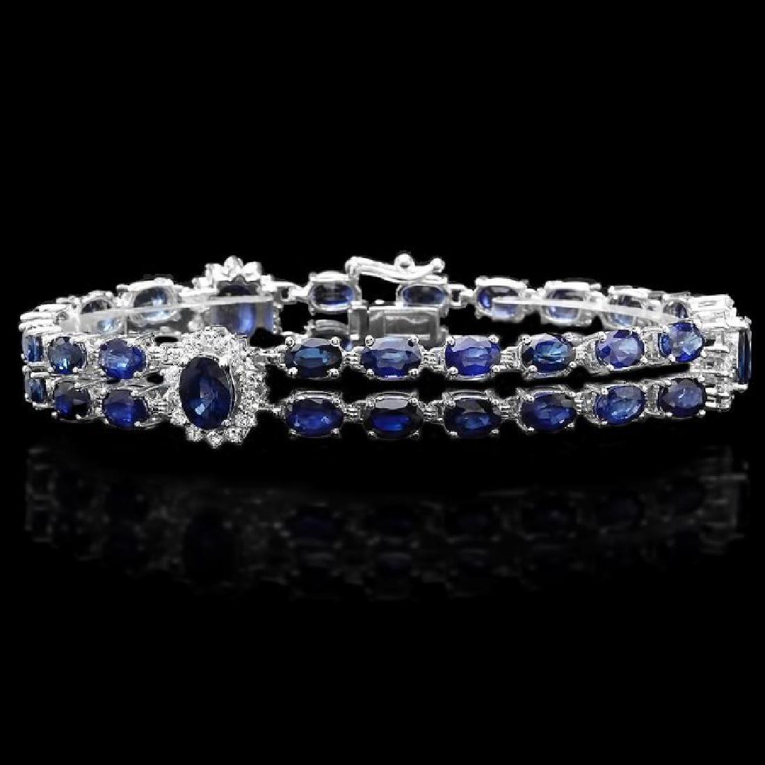 14k Gold 23.00ct Sapphire 1.50ct Diamond Bracelet