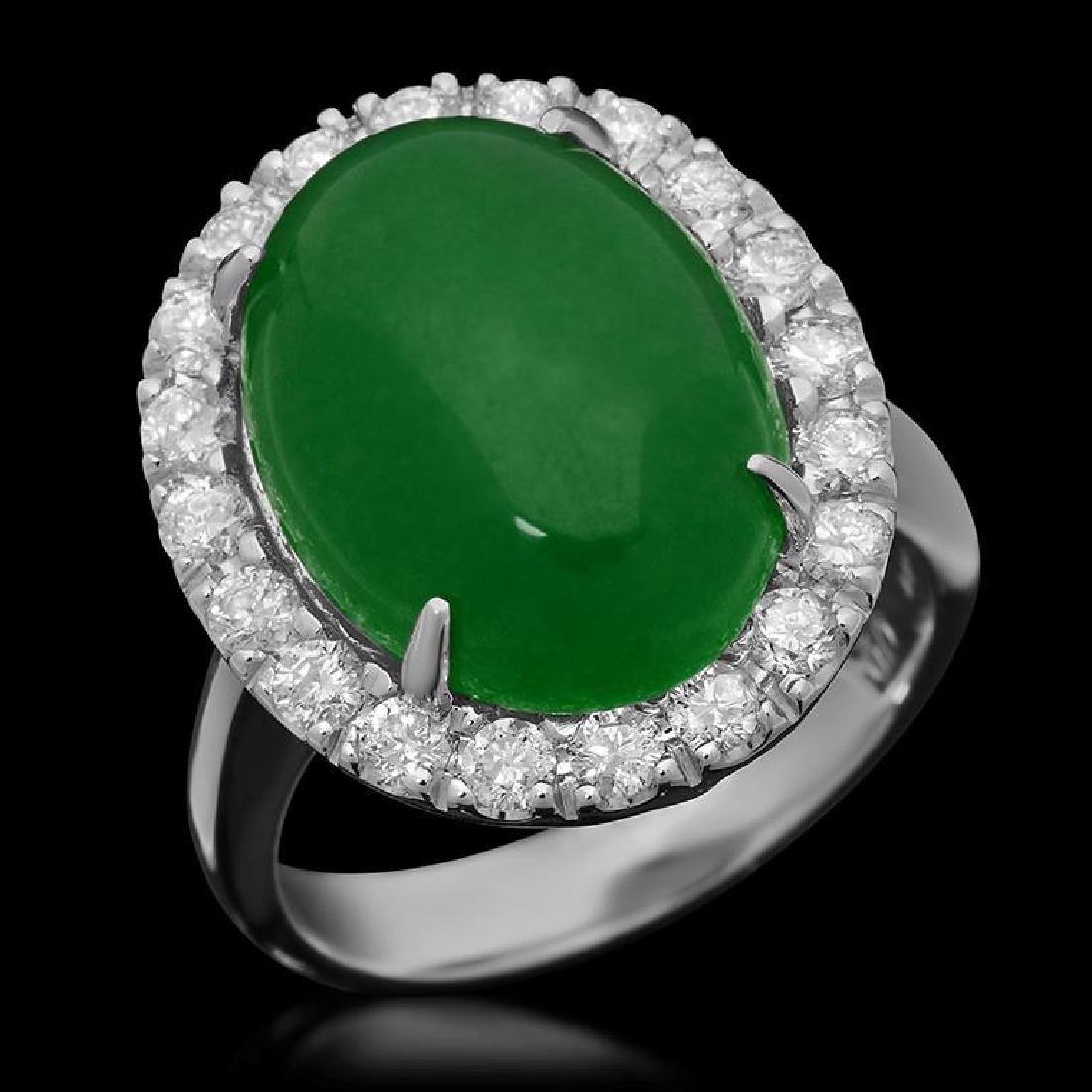 14K Gold 8.41ct Jadeite & 0.95ct Diamond Ring