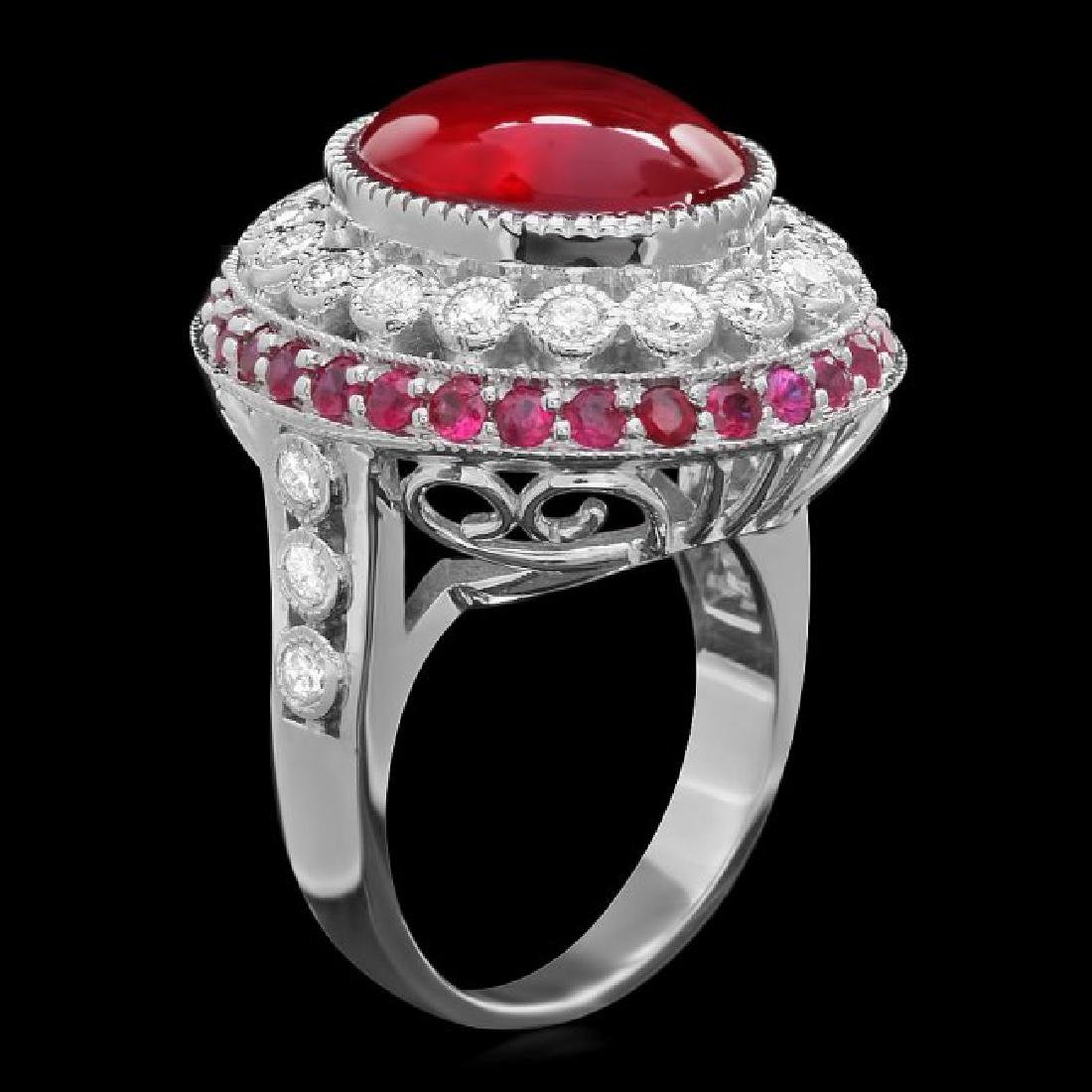 14k White Gold 12ct Ruby 0.90ct Diamond Ring - 2