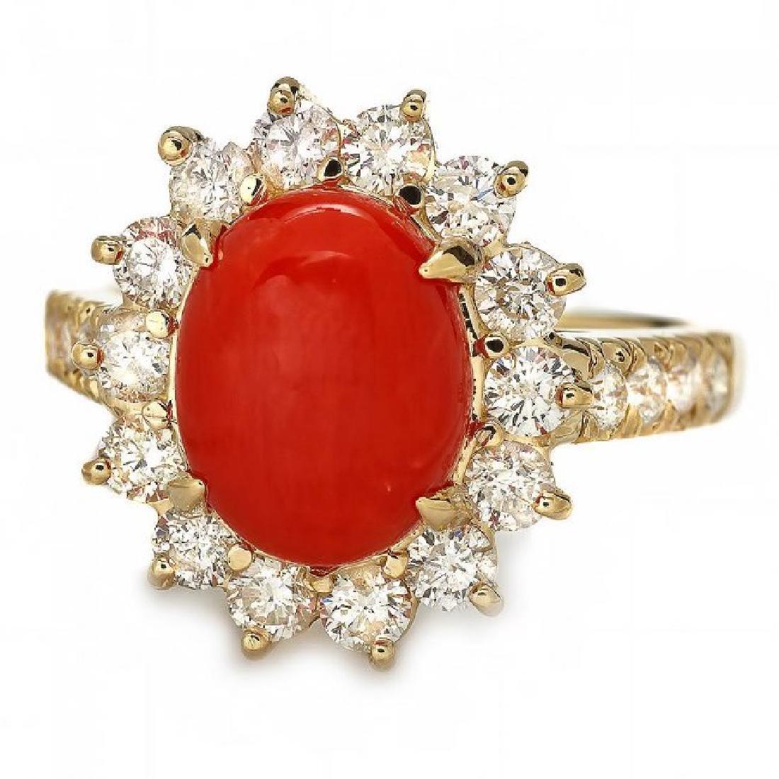14k Yellow Gold 2.50ct Coral 1.20ct Diamond Ring - 2