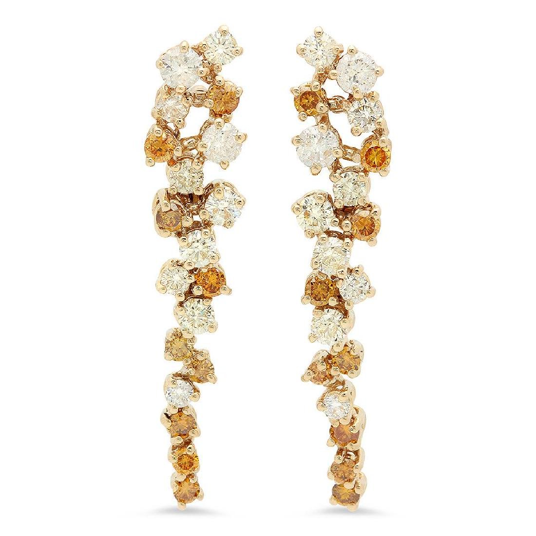 14K Gold 2.20cts Diamond Earrings
