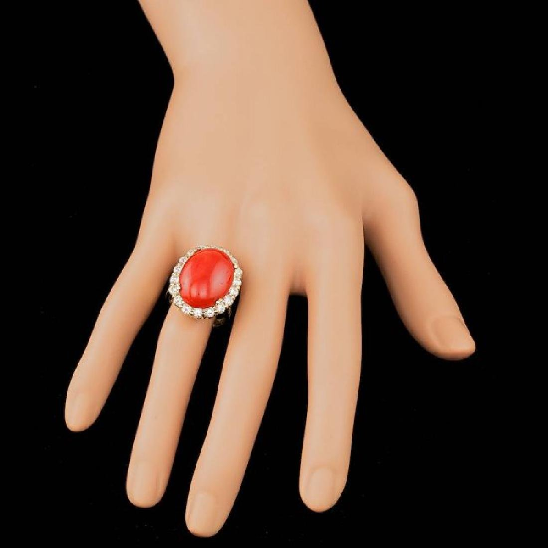 14k Yellow Gold 12.50ct Coral 2.30ct Diamond Ring - 4
