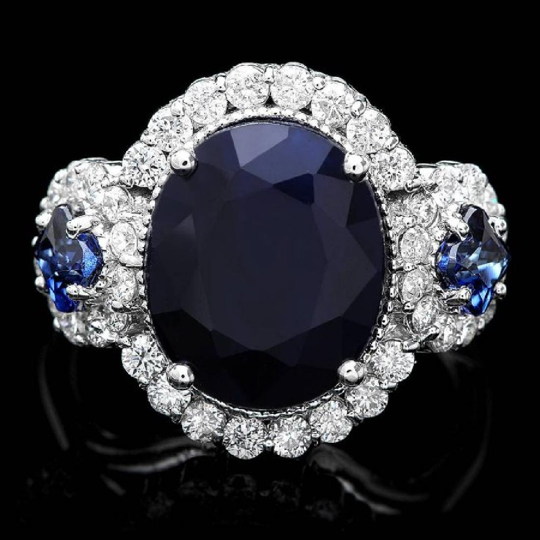 14k White Gold 6.5ct Sapphire 0.90ct Diamond Ring