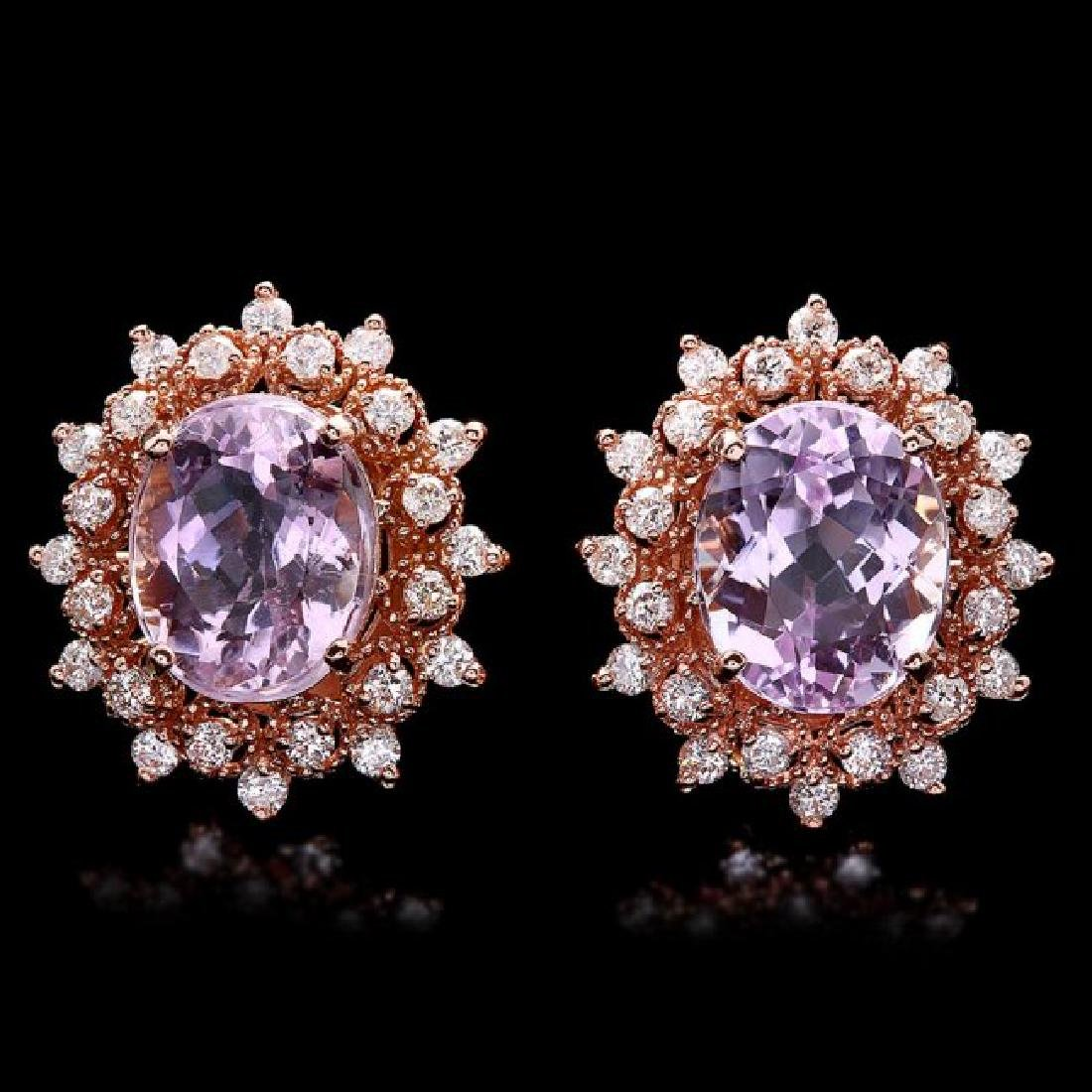 14k Rose 9.00ct Kunzite 1.20ct Diamond Earrings