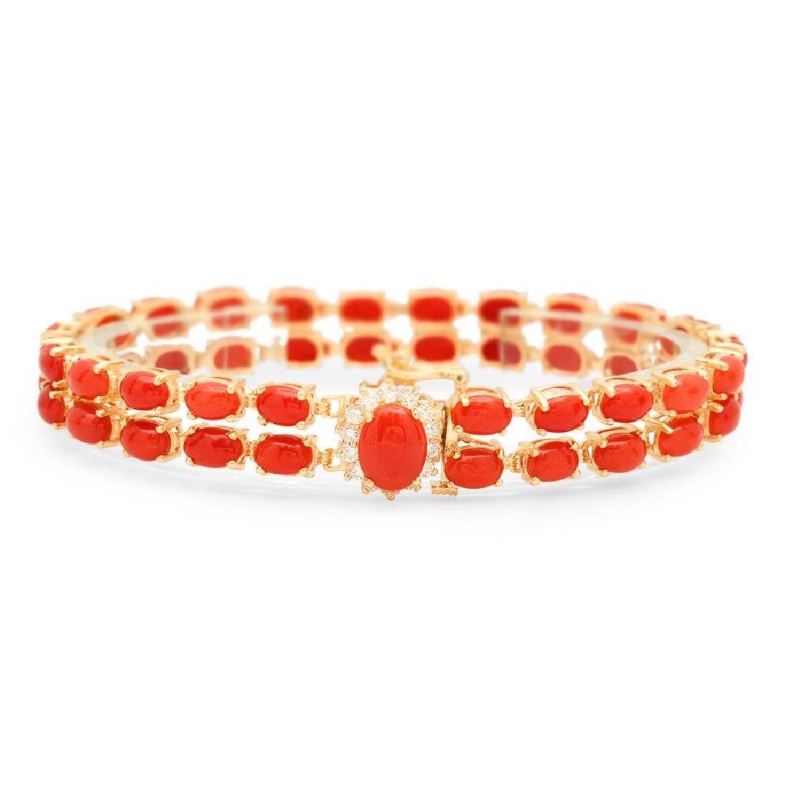 14K Gold 19.20ct Coral 0.33cts Diamond Bracelet