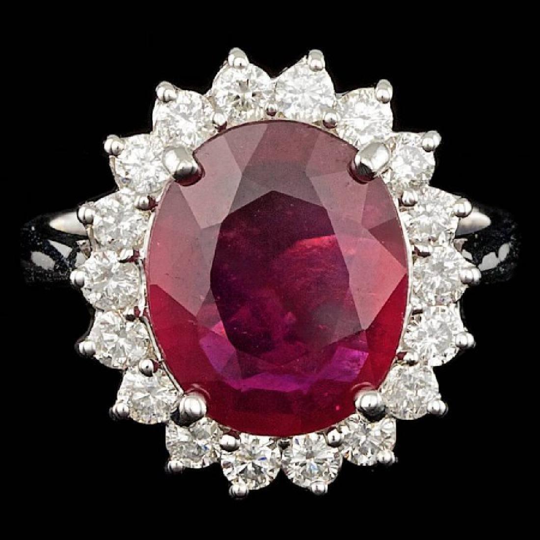 14k White Gold 5.00ct Ruby 0.85ct Diamond Ring