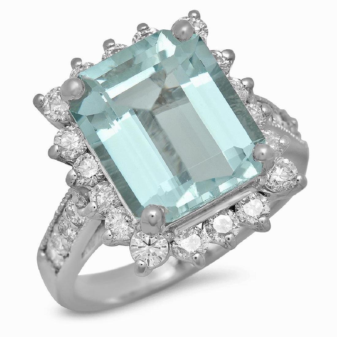 14K Gold 5.17ct Aquamarine 1.20ct Diamond Ring
