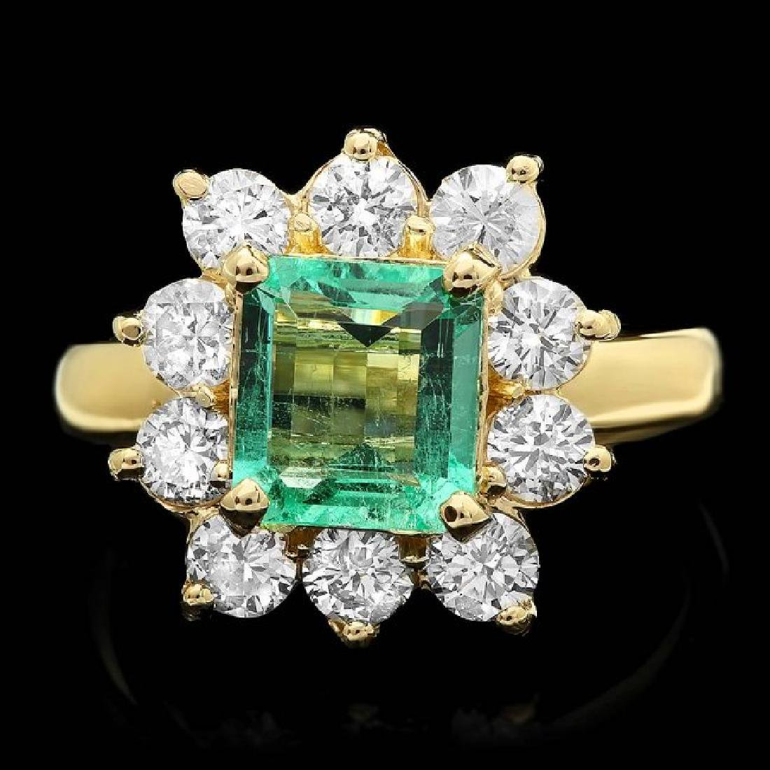 14k Gold 1.50ct Emerald 1.35ct Diamond Ring