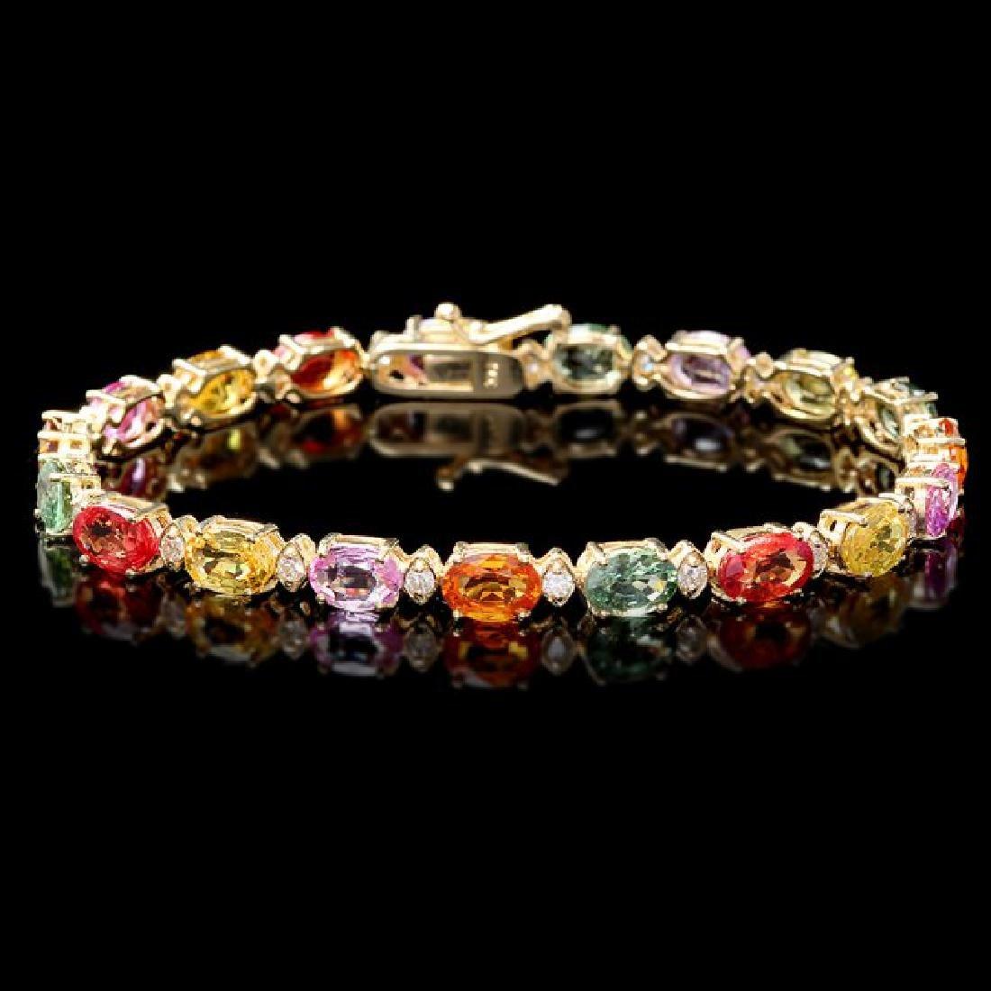 14k Gold 17ct Sapphire .70ct Diamond Bracelet